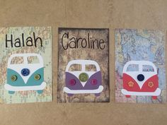 Cute Door Decs! Travel theme. VW Bus with buttons on map background.