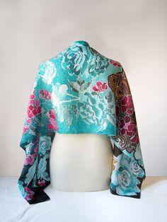 Turquoise Rose silk scarf handpainted by Luiza #Malinowska #minkulul. Cyan scarf ready to go!