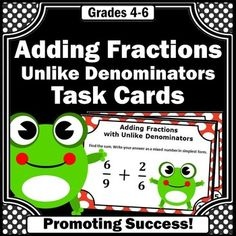 You will download 30 fraction task cards for 5th grade and special education math students to practice adding fractions with unlike denominators. Ideas for fraction games and activities are included, such as a scavenger hunt or SCOOT. Use them in math centers or stations as a review, test prep, formative assessment or extra morning work practice. A student response form and answer key are included.