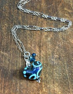 ♥︎ Blue Heart Pendant. Glass Heart Pendant. Women's Necklace. Lampwork Necklace. Sterling Silver Necklace. Heart Jewelry. Valentine's Day Gift. Studio BB Designs ♥︎