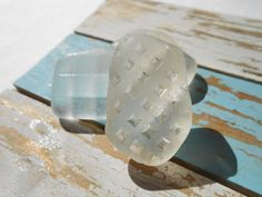 Patterned white sea glass, greek patterned beach glass supply by BeniciaSeaglass on Etsy