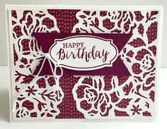 stampin up rose wonder stamp set and detailed floral thinlits dies Stampin Up Anleitung, Stampin Up Karten, Homemade Greeting Cards, Homemade Cards, Handmade Birthday Cards, Happy Birthday Cards, Scrapbooking, Hand Stamped Cards, Stamping Up Cards
