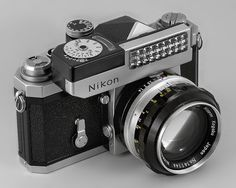 "Nikon F film camera -- Eye-level (""plain"") finder -- Clip-on exposure meter (no batteries) -- NIKKOR-S  Auto  1:1.4 f=5.8cm lens"