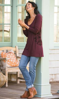 Soft Surroundings Illusion Tunic $79  I always thought this catalog was very Grandma...but either my tastes are getting more relaxed, or they're getting a little more stylish