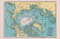 Vintage Map of the Arctic Circle Fabric ~ great for pillows or other home decor projects! Pillows made from this would look amazing on my son's bed!