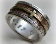 mens wedding band - rustic fine silver copper and brass cross - handmade artisan designed wide band ring - manly Christian ring - customized
