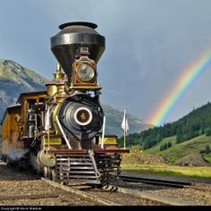 gauge Baldwin steam locomotive with rainbow from Juana Martin. Locomotive Diesel, Steam Locomotive, Train Tracks, Train Rides, Old Steam Train, Train Art, Train Pictures, Old Trains, Train Engines