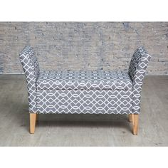 Grey Patterened Upholstered Storage Bench with Arms £89
