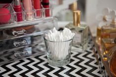 24 Life-Changing Ways to Store Your Beauty Products  - Cosmopolitan.com (candle vases simple)