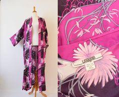 Vintage  1980's I . Magnin Silk Kimono | Asian Motif Floral Kimono by GracedVestige on Etsy