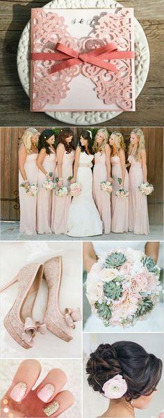 elegant peach shaded wedding ideas with cute laser cut wedding invitations