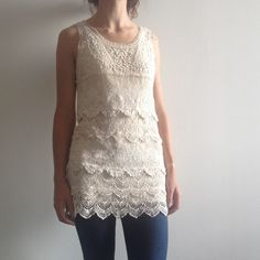 Ivory tiered crocet lace tunic top Super cute C.Luce boutique tunic top, only worn twice. Love it but I don't wear it enough so it has to go! C. Luce Tops
