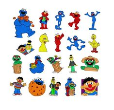 SALE -  Sesame Street 20 design, 4*4 Inch Machine Embroidery Patterns, Bert and Ernie, Big Bird Embr