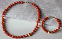 SAVE 20% Red Aventurine Gemstones with 24k Gold Vermeil Bead Hand Knotted Set Necklace & Bracelet by ILgemstones on Etsy