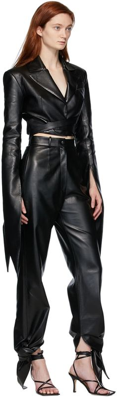 Slim Fit Trousers, Leather Trousers, Leather Jacket, Black Tie, Shopping Bag, Street Wear, Street Style, Cow Hide, Fashion Design