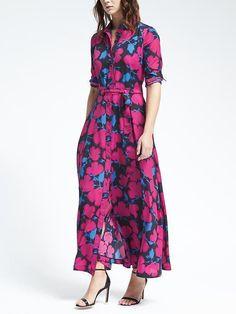 NWT Banana Republic Floral Maxi Shirt Dress SIZE  4,  6,  8 Tall,  10,  12 #BananaRepublic #ShirtDressMaxi