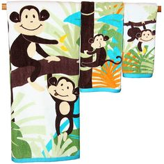 Monkey 3 Piece Bath, Hand, and Fingertip Towel Set