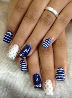 The Deep Winter Nail Art Designs are so perfect for Hope they can inspire you and read the article to get the gallery. Cruise Nails, Vacation Nails, Colorful Nail Designs, Nail Art Designs, Winter Nails, Summer Nails, Anchor Nails, Nautical Nails, Nail Decorations