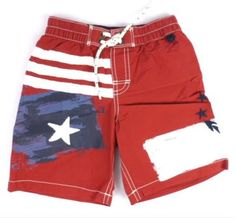 Baby Gap Boys Swimsuit Nwt Swim Trunks Shorts Size 4t Patriotic Flag Anchor  USA