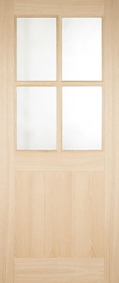 The 4 Light Double Glazed Oak External Door has beveled clear glazing. The lower section is V Groove detailed giving the traditional cottage style look. External Oak Doors, Light Oak, Cottage Style, Traditional, Contemporary, Home, Decor, Chalet Style, Decoration
