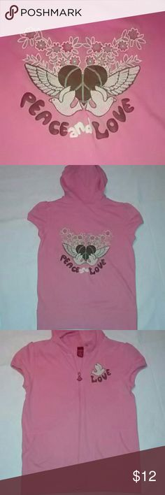 Mossimo~ Jr's 'Peace and Love' Hooded Jacket Wish this was my size! Daughter wore it Maybe 1time at the most! Cute pink, short-sleeved, hooded sweat jacket w awesome 'Peace and Love' graphic w an angel winged heart (w Peace sign) floral design and embroidered birds, on the back... also has an embroidered bird on the front w 'Love' graphic underneath. Zipper has a pink bird pull as well. Jr's size XL (14/16) could fit adult s/m. Mossimo Supply Co Jackets & Coats