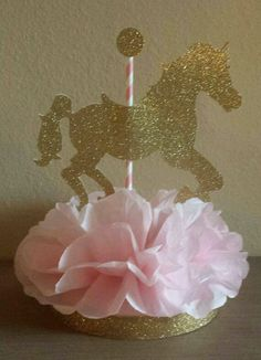Carousel Horse Birthday Party Or Baby Shower Centerpiece In Carousel Horse Party Decorations - Best Home & Party Decoration Ideas Horse Party Decorations, Birthday Table Decorations, Baby Shower Table Decorations, Birthday Party Centerpieces, Baby Shower Centerpieces, Centerpiece Table, Unicorn Centerpiece, Carousel Birthday Parties, Carousel Party