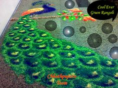 wow peacock rangoli done with coloured rice grains