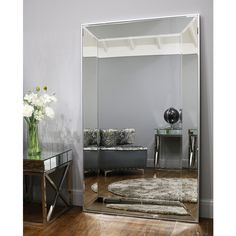 The Modena mirror achieves a contemporary modern design, featuring angled bevelled outer glass pieces and a lightly toned silver border. Learn more. Hallway Mirror, Wood Mirror, Beveled Mirror, Beveled Glass, Framed Mirrors, Extra Large Mirrors, Modern Contemporary, Modern Design, Art Deco Mirror