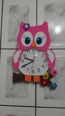 ATIVIDADES EI: RELÓGIO CORUJA EM E.V.A Kids Crafts, Foam Crafts, Easy Crafts, Diy And Crafts, Arts And Crafts, Paper Crafts, Clock Craft, Diy Clock, Preschool Classroom Decor