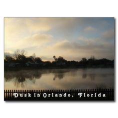 Orlando Florida Postcard - photo I took myself #postcard #orlando #florida #lake #dusk