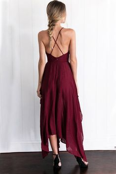 2017 Custom Made Charming Burgundy Prom Dress,Spaghetti Straps Evening Dress,Side Slit Party Dress