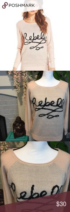 {Pretty Rebellious} oversized Rebelle sweater Rebel style oversized sweater. Champagne pink sweater with black writing. Size M. Pretty Rebellious Sweaters Crew & Scoop Necks