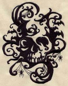Embroidered design #Gothic #Design #Skull #Spider