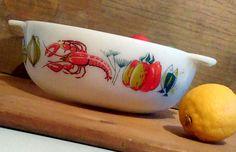 Rare Pyrex, Large Pyrex Lobster dish, JAJ pyrex Lobster casserole dish, JAJ lobster dish, Mid century pyrex, English pyrex dish, 1960s pyrex by StrawberryfVintage on Etsy