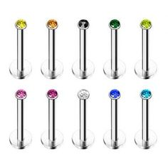 Product:JewelrieShop 10Pcs Stainless Steel Lip Studs Set with Sparkly Crystals, 16G Labret Tragus Cartilage Body Piercing Jewelry