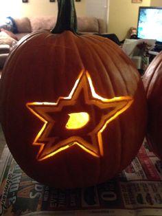 Dallas Stars pumpkin carving