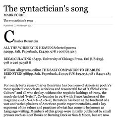 Mark Ford has a review of 2 books by Charles Bernstein & one book about him in the TLS of 11/22/13.