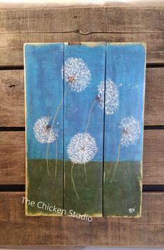 Dandelion Painting Wall Hanging Pallet art by TheChickenStudio