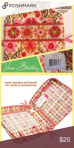 Vera Bradley Tech Organizer in Folkloric pattern It seems everything comes with accessories these days, including technology. So, Vera Bradley made an accessory to hold it all! Four mesh pockets house power cords, flash drives, chargers and more, while the double-zip closure and top handles make transporting a breeze. Vera Bradley Bags
