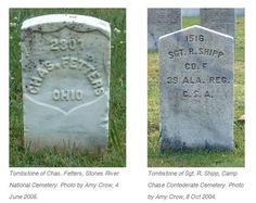 In a nutshell, the difference between Union and Confederate tombstones is the top of the stone. Union tombstones, such as that of Chas. Fetters, have rounded tops. Confederate tombstones, like that of Sgt. R. Shipp, have pointed tops.