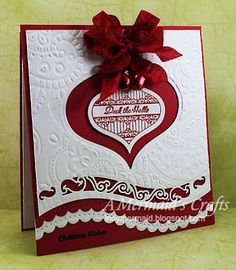 A fabulous idea for using your dies to create a christmas card - Red & White Deck The Halls Card...