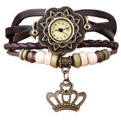 New Leather Weave Around Crown Bracelet Watch Women
