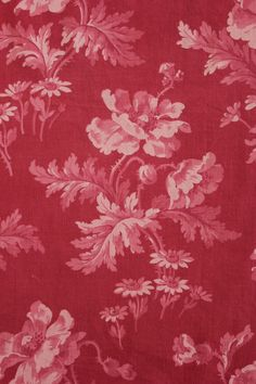 Antique French red ground  ~ block and resist printed cotton ~ c1880 Art Nouveau