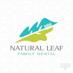 LOGO SOLD Simple leaf shapes with a tooth brush created within the white space of this design.