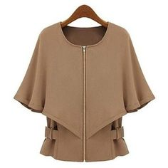 Camel Front Zippered Convertible Coat