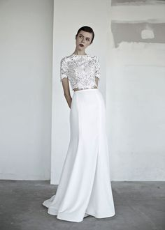 "OUI The Label 2017 Wedding Dresses — ""New Romantics"" Bridal oui the label 2017 bridal short sleeves jewel neck heavily embellished bodice crop top 2 piece fit and flare wedding dress covered lace back sweep train mv — OUI The Label 2017 Wedding Dresses Bridal Lace, Bridal Gowns, Wedding Gowns, 2017 Bridal, 2017 Wedding, Chic Wedding, Unconventional Wedding Dress, Fit And Flare Wedding Dress, Sweet Dress"