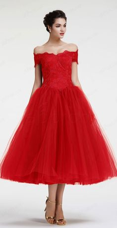 Red off the shoulder ball gown prom dresses tea length homecoming dresses vintage evening dresses