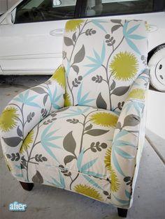 Reupholstered chair, after pic #green #aqua #botanical