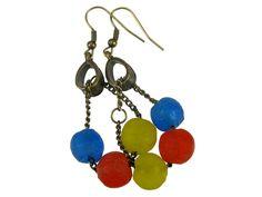 Ghana Africa Multicolor Sandcast / Powder Glass Beads Drop Earrings #a196