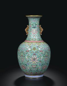 A FAMILLE-ROSE TURQUOISE-GROUND BOTTLE VASE  SEAL MARK AND PERIOD OF DAOGUANG Porcelain Ceramics, Ceramic Art, Fine Porcelain, Rose Vase, China Art, Chinese Ceramics, China Painting, Pottery Designs, Asia
